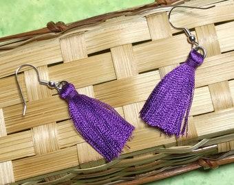 Purple Tassel Dangle Drop Earrings