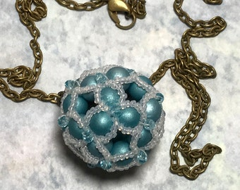Blue - White Beaded Ball Pendant Necklace