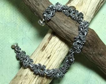 Unisex Silver Colored Metal Ring Bracelet