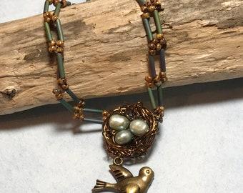 Woodland Bird's Nest Pendant Necklace