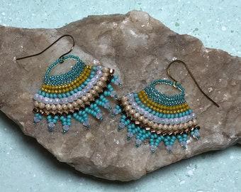 Aqua Beadwoven Fan Earrings
