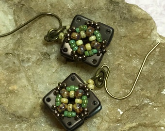 Brown - Biege Square Bead Earrings