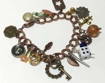 Mix Metal Charm Steampunk Bracelet