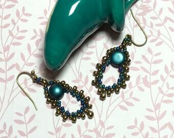 Blue - Brass Colored Seed Bead Earrings