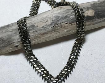 Gray Metallic V Shaped Necklace