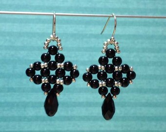 Onyx Beaded Earrings Black Bead Earrings Black Drop Earrings Beadwoven Earrings Beadwork Earrings Black Beaded Dangles Onyx Dangle Earrings