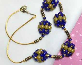 Blue Gold Necklace Beadwork Necklace Chunky Bead Necklace Statement Necklace Beadwoven Necklace Beaded Bead Necklace Boho Necklace