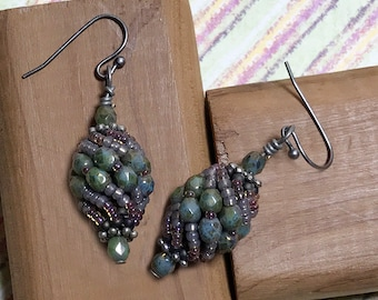 Beige Green Earrings Olive Green Earrings Olive Brown Earrings Green Twist Earrings Olive Bead Dangles Beige Green Dangles Beadwork Earrings