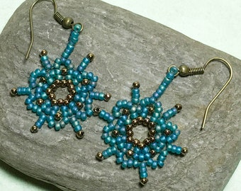 Seed Bead Earrings Bead Dangle Earrings Blue Brass Earrings Beadwoven Earrings Beadwork Earrings Sunburst Earrings Beaded Disc Earrings