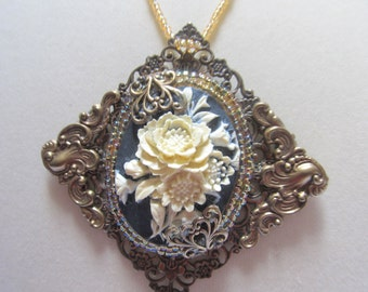 Antique Brass Cameo Pendant,  Lady's  Beaded Necklace, Antique Brass Filigree, Resin Cameo, Black and White Cameo, flower Cameo Necklace