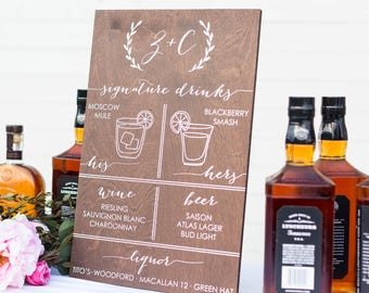 Signature Drinks Sign, Signature Cocktail Sign, Wedding Bar Sign, Wedding Bar Menu, Wedding Menu Sign, Wooden Cocktails Sign, wood handmade
