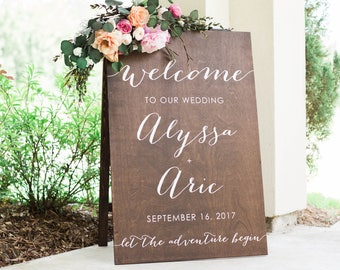 Wood Wedding Welcome Sign, Welcome To Our Wedding Sign, Welcome to the Wedding of, The Adventure Begins Sign, Wood Wedding Signs, a frame