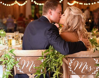 Mr and Mrs chair signs for wedding, wood bride and groom sign for head table,  banner, wooden engagement party decor, rehearsal dinner ideas