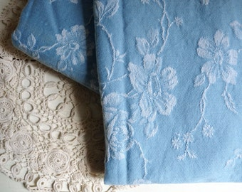 """Vintage French Damask Ticking, Clear Blue Fabric with White Floral Pattern. long 65cm x wide 155cm or long 25 """" x wide 61 """"."""