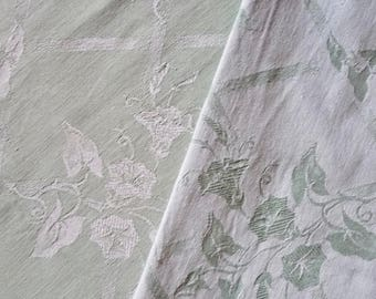 """Vintage French Damask Ticking, Pastel Green with a Floral Pattern of Morning Glories.  Long 4 m x wide 1.34m or long 4.3 yards x wide 52 """"."""