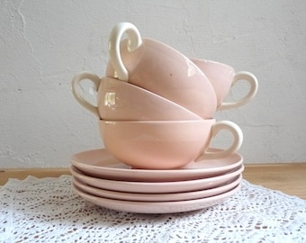 4 Vintage CUP and SAUCERS, Soft pink with cream white ear handles, stamped Villeroy & Boch, Germany.