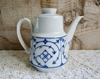 Vintage Porcelain Coffee Pot, Tea Pot with Blau Saks Design. Stamped: Winterling Bavaria Germany.
