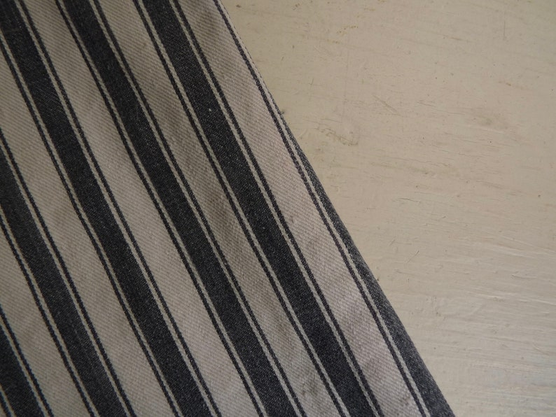 Antique French Striped Ticking Fabric ~ Dark Blue /& White ~ 4 meters long  x  134 cm wide