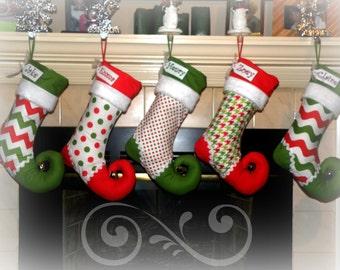 Christmas Stocking personalized - elf stocking - choice of FOUR