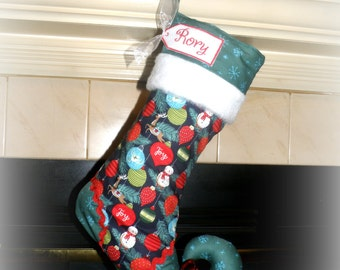 Christmas stocking with personalized name tag - elf stocking