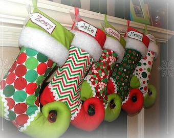 Christmas Stocking personalized elf stocking - your choice of FOUR