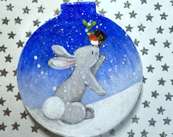 Bunny Love - Paper Mache Christmas Decoration