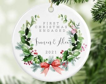 Personalised 1st Christmas Engaged Decoration