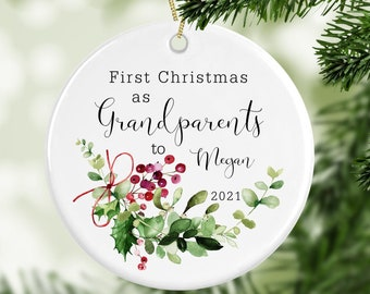 Personalised 1st Christmas As Grandparents Decoration