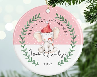 Personalised 1st Christmas Cute Elephant Decoration