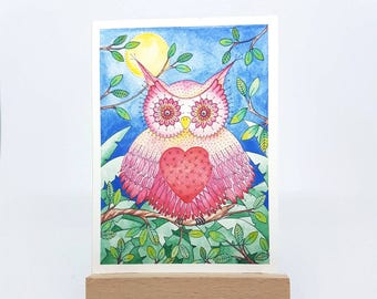 """Mini Owl Will Always Love You Print - ACEO Size - 2.5""""x3.5"""""""