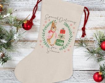 Personalised Rabbit Christmas Stocking - Pink Rabbit