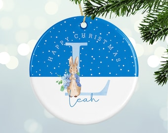 Personalised Christmas Decoration - Name & Initial  - Peter Rabbit