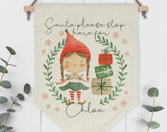 Santa Please Stop Here Personalised Pennant Sign - Girl Elf