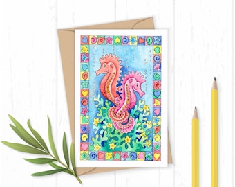 Together Forever - Seahorse Card - Seahorse Greetings Card - Seahorse Art