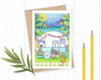Home Sweet Home - Greetings Card - Caravan Card - New Home Card - Moving House Card - Birthday Card - Cat Card