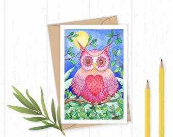 Owl Greeting Card - Owl Birthday Card - Owl Card - Owl Art - Owl Painting - Bird Card - Bird Greetings Card
