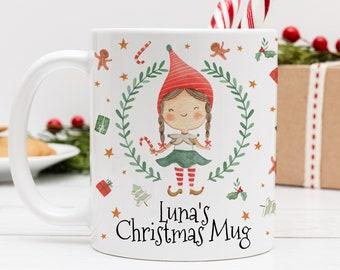 Personalised Christmas Girl Elf Mug.