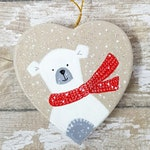 Polar Bear Christmas Tree Ornament  - Polar Bear Ornament - Hand Painted Ornament - Heart Decoration - Christmas Decoration