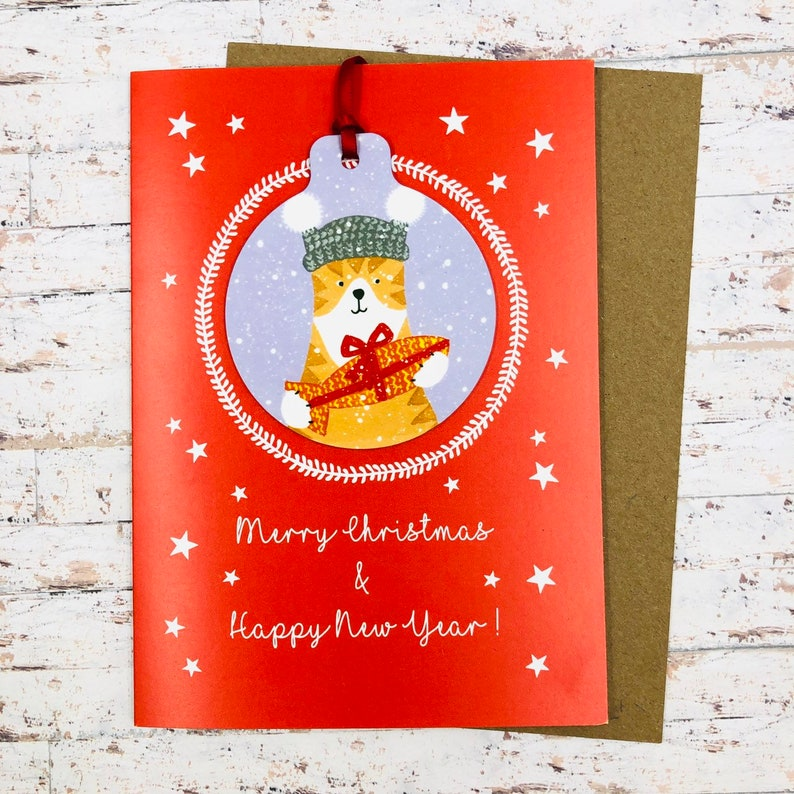 Cat Christmas Card With Decoration  Handmade image 0