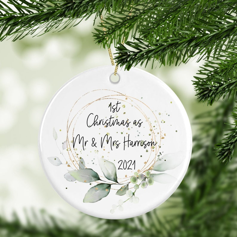 Personalised 1st Christmas Married Decoration image 0
