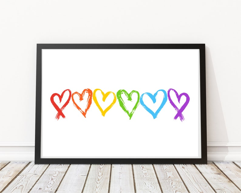 Rainbow Hearts Print  LGBT Quotes  Pride Equality Print  image 0