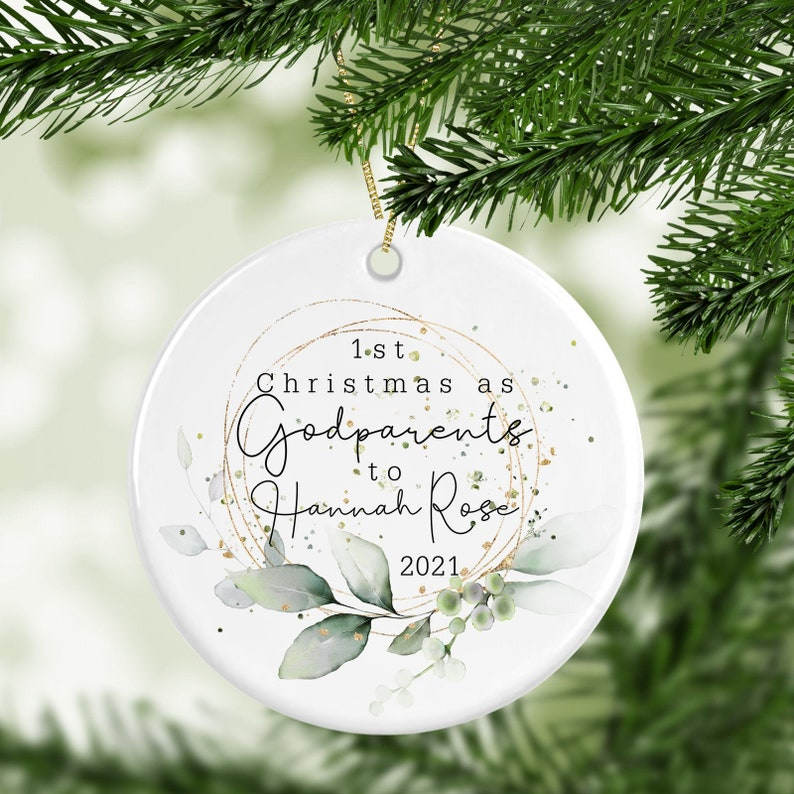 Personalised 1st Christmas As Godparents Decoration  image 0