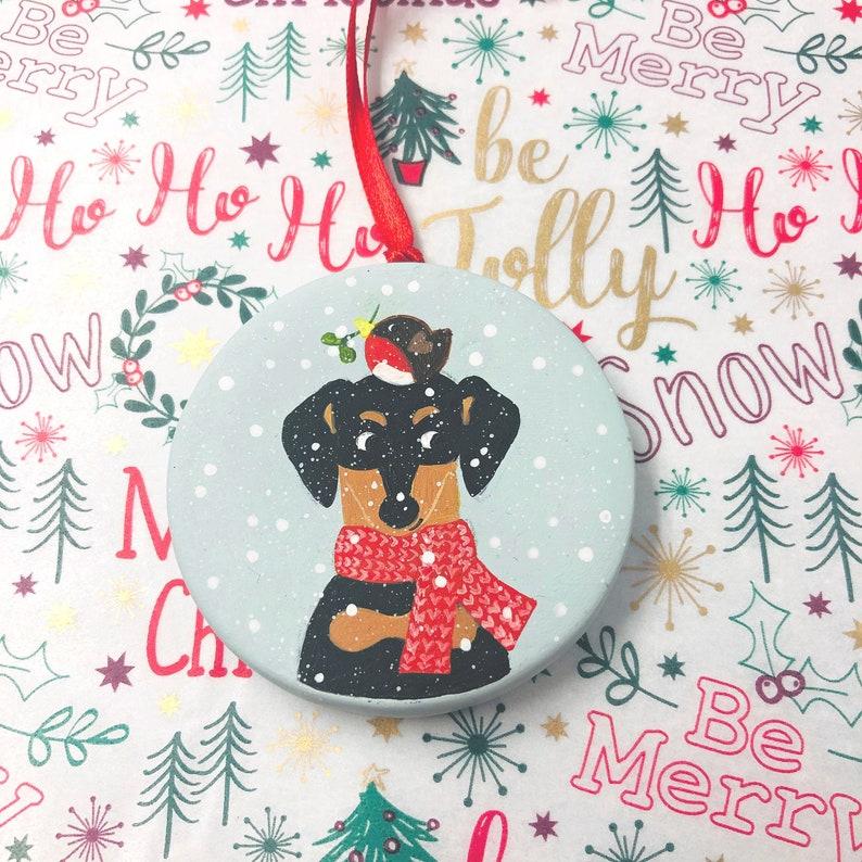 Hand Painted Dachshund Christmas Decoration  Ceramic Round image 0