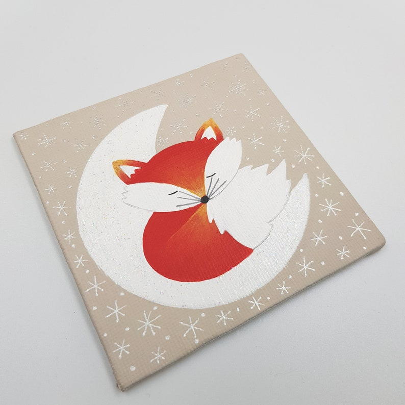 Hand Painted Original Art Canvas  Fox Gift image 0