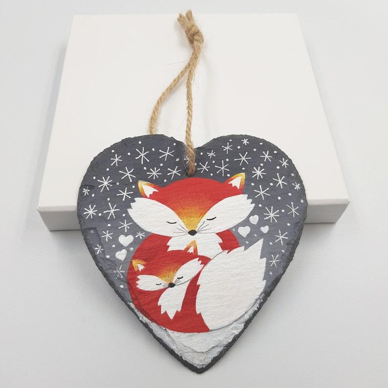 Thank You   Hand Painted Slate Heart Decoration  Fox Art image 0