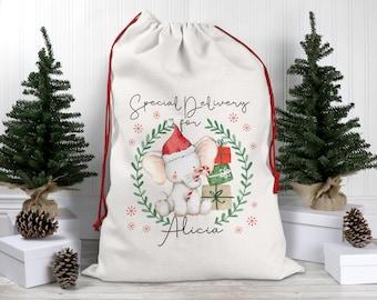 Personalised Cute Elephant Christmas Santa Sack