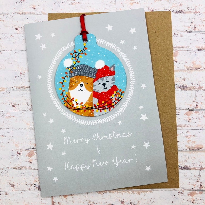 Best Friends Cat Christmas Card With Decoration  Handmade image 0