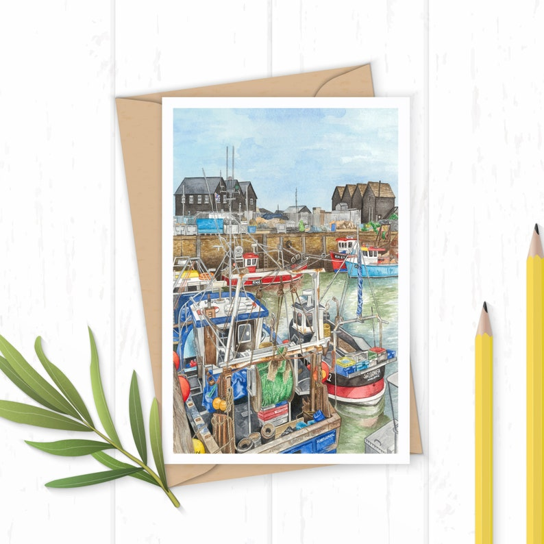 Whitstable Harbour Greeting Card image 0