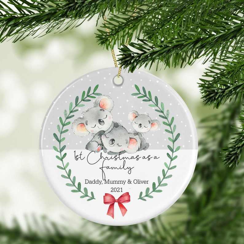 Personalised 1st Christmas As A Family Decoration  New Baby image 0