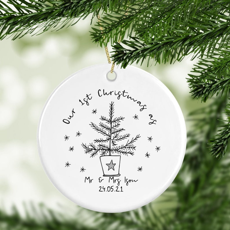 Personalised 1st Christmas Married Decoration image 1